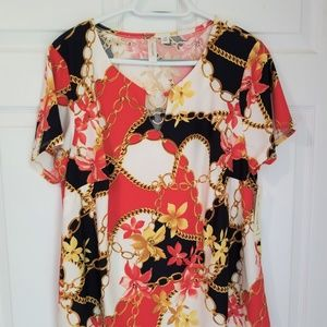 Tacera Blouse NWT Size 1X Multicolored Floral